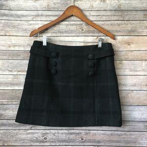 J.Crew black plaid wool blend skirt